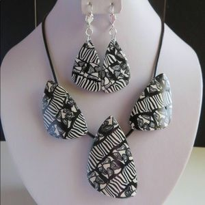 Black and White Statement Necklace, Jewelry Set